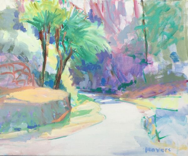Bright Path. Tresco Abbey Gardens. Oil on canvas