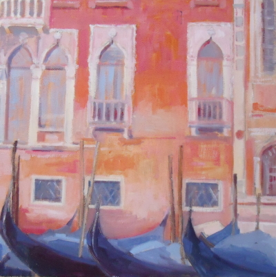 VENICE SERIES :  ''Gondolas with Palace Windows ''     CLICK on thumbnail for larger image