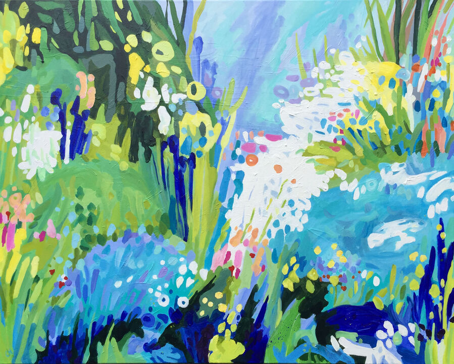 Flower garden botanical impressionistic