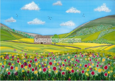 "*NOW SOLD* Barn and hay meadows. Picture size 16"" x 11.5"" (approx)."