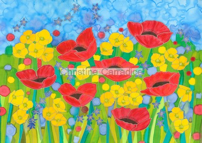 "Big poppy, little poppy. Picture size 16"" x 12"" (approx)."
