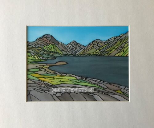 """Great Gable and Wastwater. Mounted and unframed. Picture size is 6"""" x 8"""" and the outside edge of the mount (antique white) measures 10"""" x 12"""" which is a standard size. £50.00."""