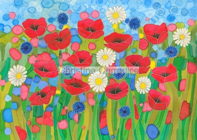 "Poppies, daisies and cornflowers. Picture size 16"" x 12"" (approx)."
