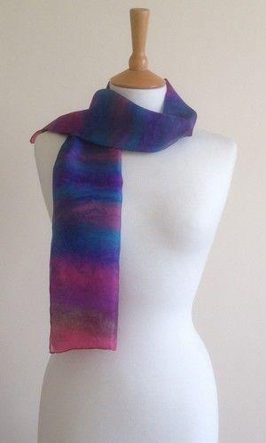 Seashore - Fuchsia pink, purple, turquoise, grey/green