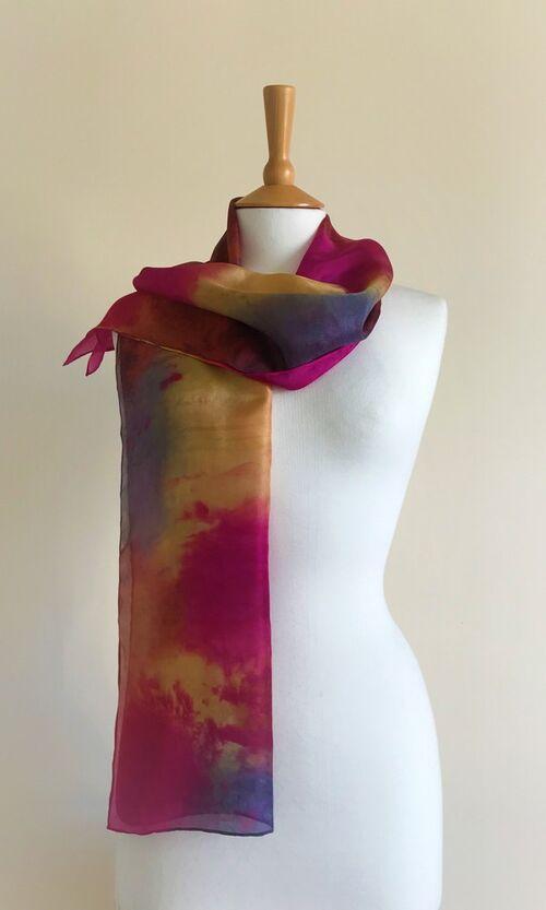 Machair - Fuchsia pink, cognac, gold, dark grey