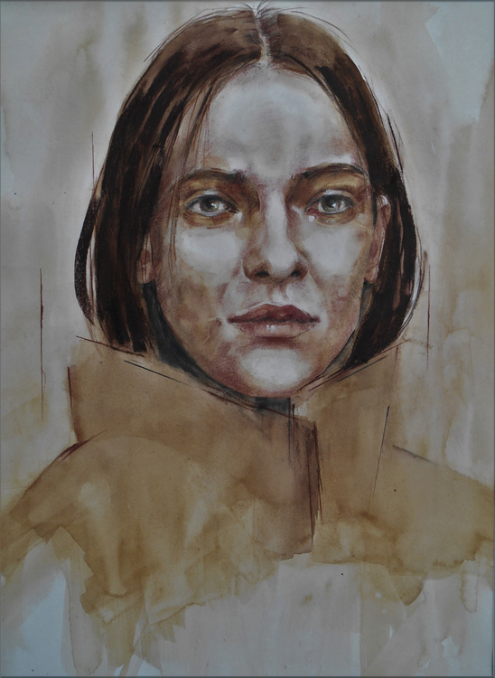 Girl in a Winter Coat 58.5x83cm