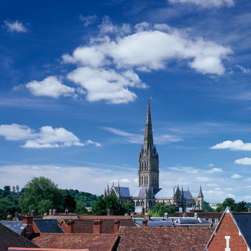 Salisbury Cathedral and city rooftops