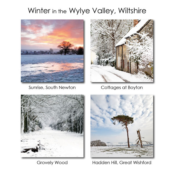 Winter in the Wylye Valley, Wiltshire - mixed pack of 12 cards and envelopes