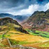 Langdale Pikes from Side Pike wall autumn