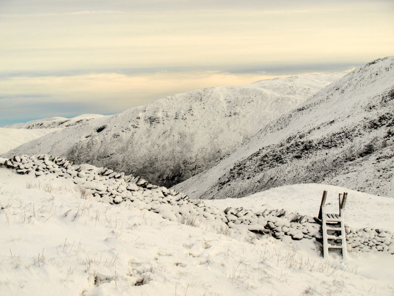 wooden stile at end of scandale pass