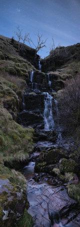 Waterfall at night, Wales.