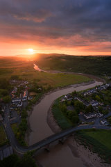 River Usk sunrise, Caerleon, Newport City, Wales, UK.
