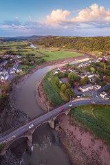 Caerleon town bridge and the River Usk, Newport City, Wales (i)