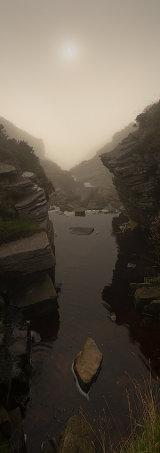 Graig Fan Las mist, Brecon Beacons, Wales.