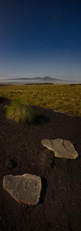 Moonlit peaks of Pen Y Fan and Corn Du, Brecon Beacons, Wales.**