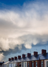 Newport houses and Mammatus clouds, South Wales.