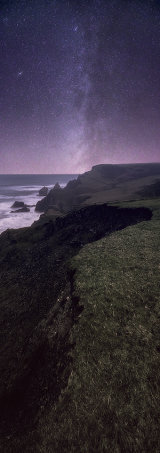 Bude coastline and Milky Way, Cornwall, England, Uk.  **