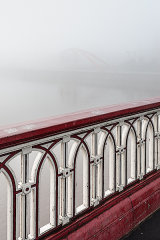 Town bridge & 'The Wave' in the mist, Newport City, Wales
