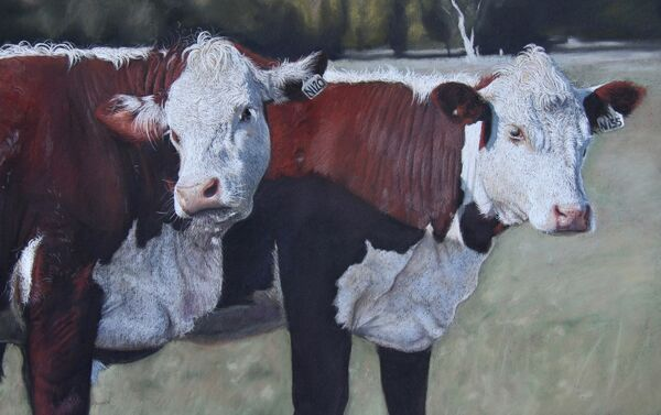 'Moovers and Shakers' pastel on paper