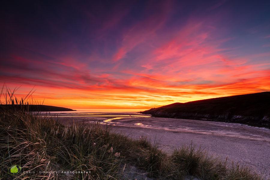 Crantock Dunes Burning Sky - rev