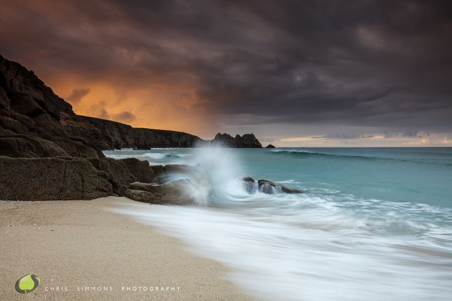 Golden Porthcurno Wavebreak - rev