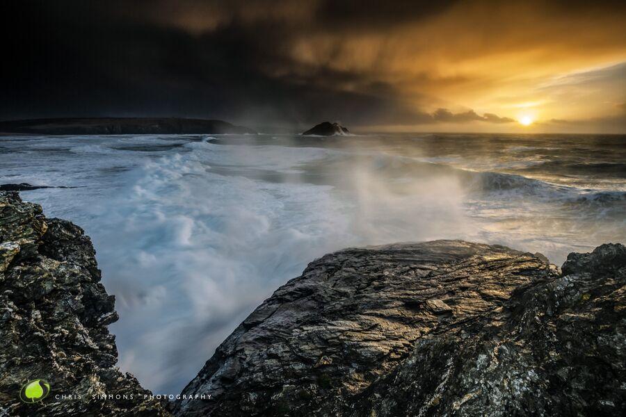 Gull Rocks Wintering Storm - (CCArt)
