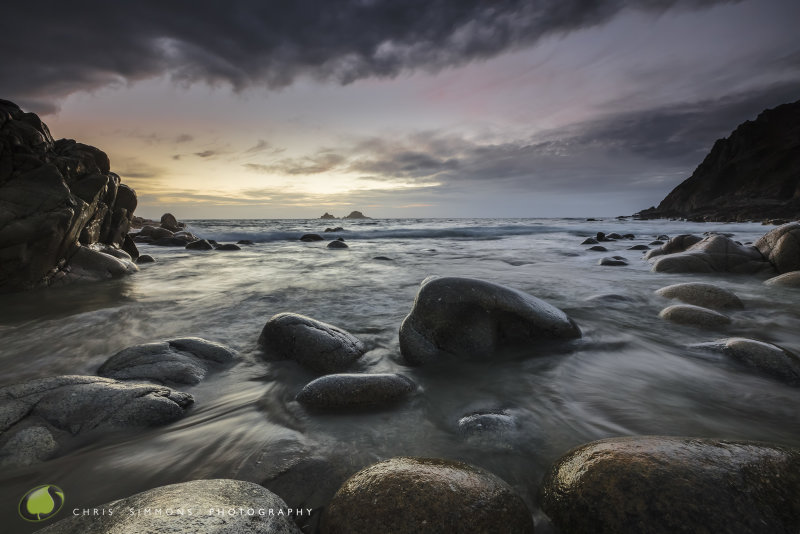 Rocks, Tideline & Sundown