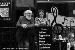 Joe Burke and Anne Conroy sharing a laugh at the Cavan Fleadh