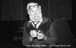 Joe Carroll - Fiddler, filing his nails before playing during Ballyfermot Arts Week circa 1984.