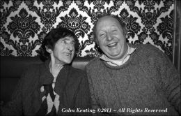Maggie Barry and Frank Harte, sharing a laugh, at the Góilín Singers Club