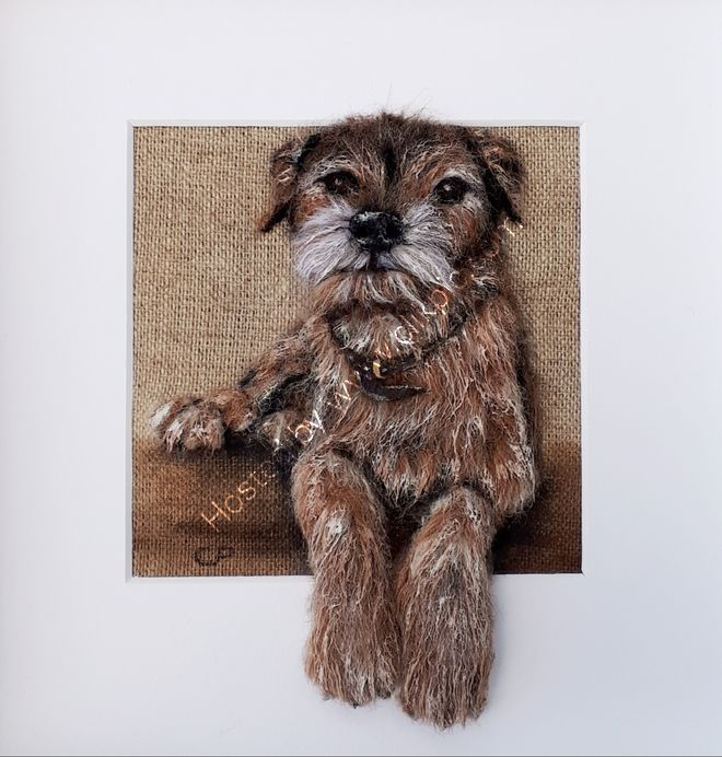 Cooper in wool & Acrylic paint