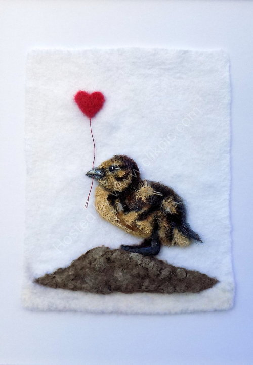 Duckling and Heart wool and acrylic painting