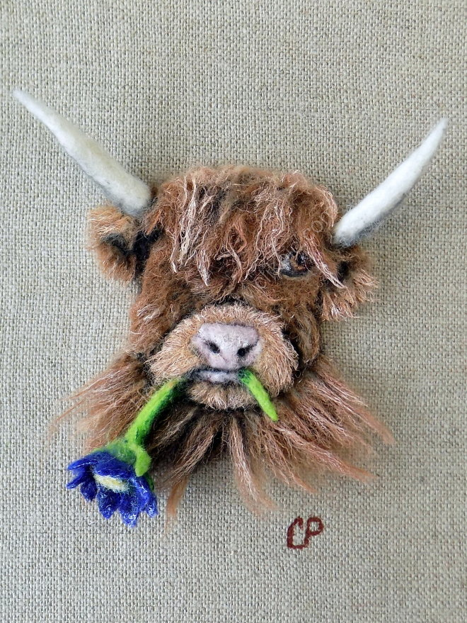 Highland Cow with Flower