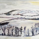 Southdowns winter landscape from Mount Cabourne, East Sussex