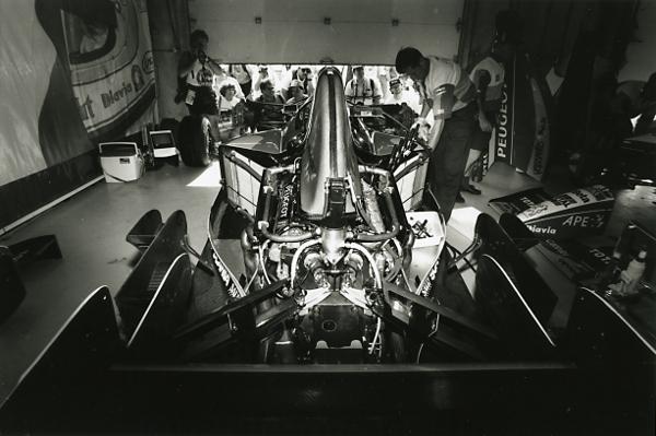 In the Jordan garage, post-race