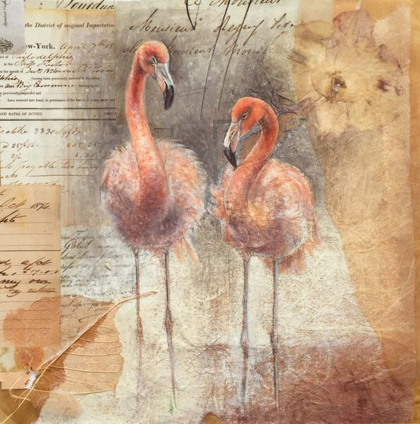 Flamingoes  23x23cm