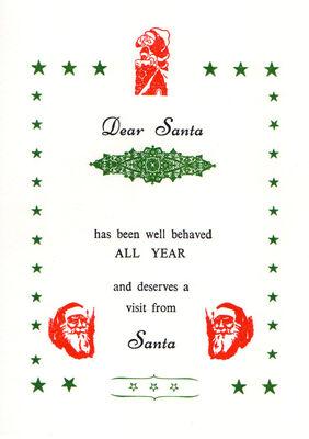 Chr-006-21 Santa certificate printed with one nane
