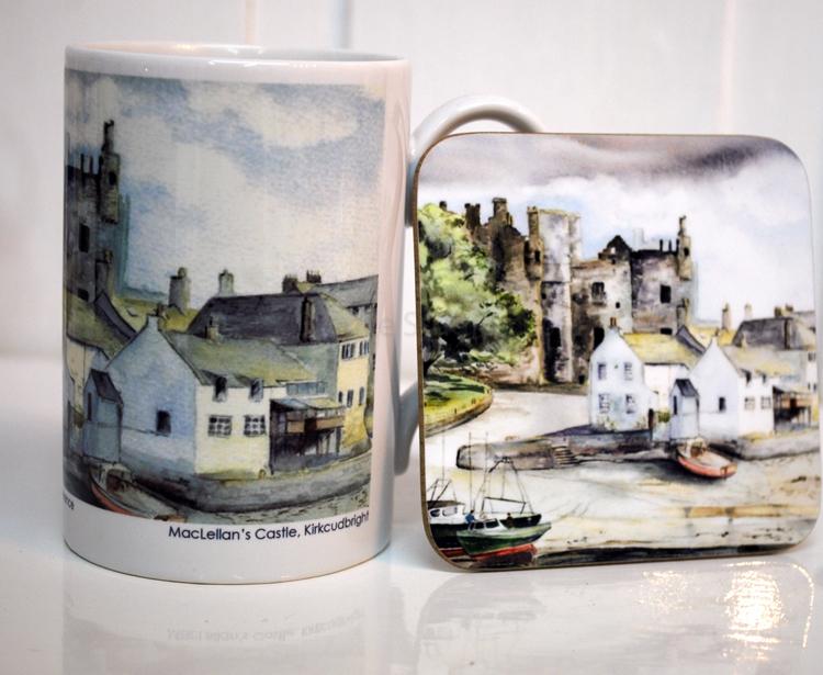 MacLellan's Castle Kirkcudbright Coaster and mug