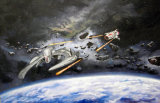 Cylon Raider with Colonial Viper in pursuit (Battlestar Galactica) - painting oil on canvas board (40cm Hx60cm W) (Private collection: Scotland)