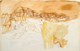 ' Wolves in Montana': underpainting in Ochre, Burnt Sienna and Burt Umber