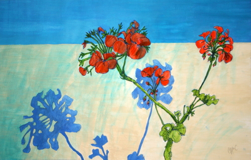 Geraniums by the wall