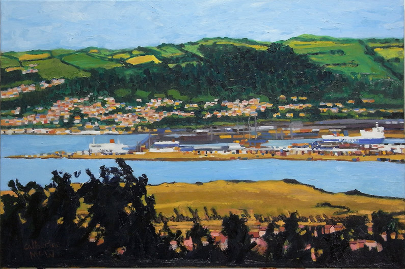 Belfast Port, oil on canvas, 51  x 76cm