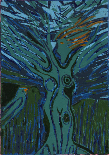 """Blue Bird"" linocut, 30 x 20cm"