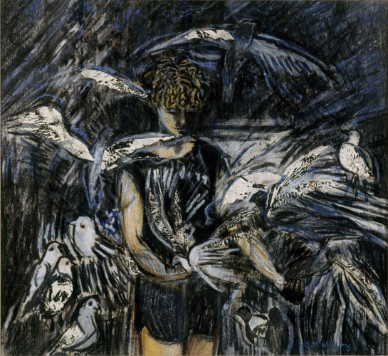 """Boy with Pigeons"" mixed media on paper 36cm x 39cm , 1981"