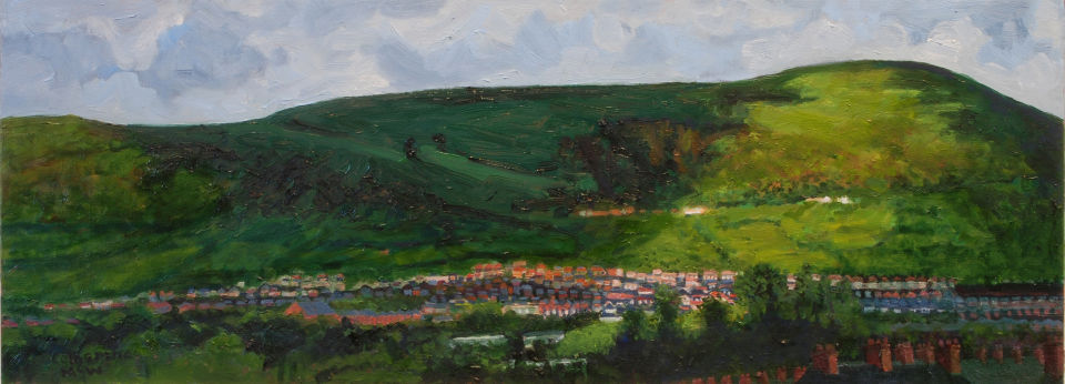 Sunlight on the  Black Mountain oil on canvas 30x80cms