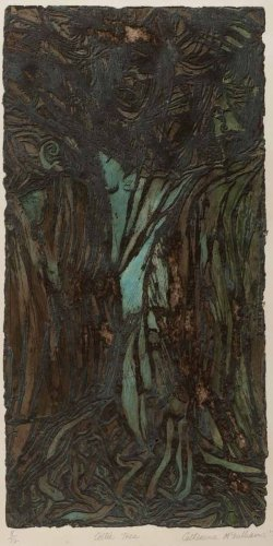 """Celtic Tree"" viscosity etching, edition of 12 , 1979"