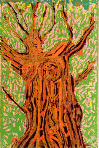 """Falling Leave"" Linocut, 30 x 20 cm"