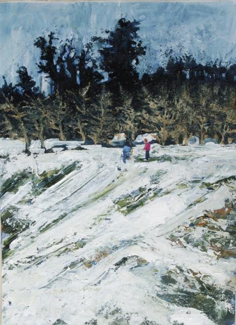 """Dark Trees"" oil on paper 49 x36cms"