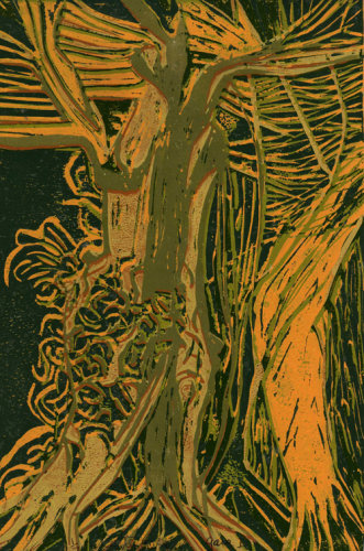 """Gaia 1"" Lino relief print edition of 7 , 30 x 20cm"