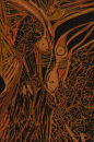 """Gaia 2"" lino relief print, edition of 8, 30cm x 20cm, 2014"